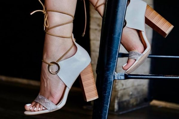 blue lace up heels